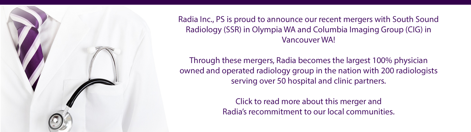 Radia Inc., PS is proud to announce our recent mergers.